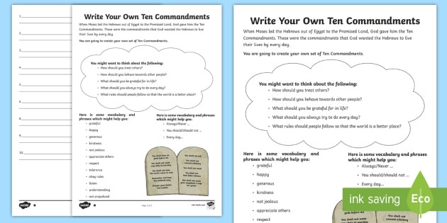 Ten Commandments Printable Worksheets Write Your Own Ten Mandments Writing Worksheet Printable