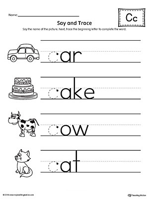 Letter C Beginning Sound Words Say and Trace Worksheet