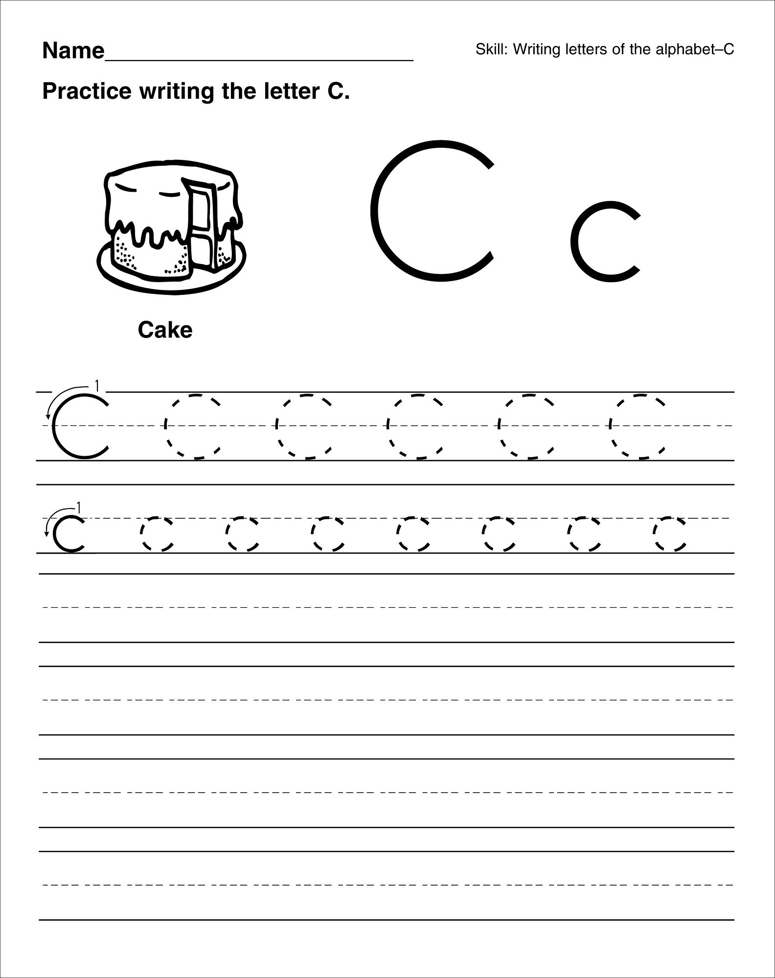 trace the letter c for child