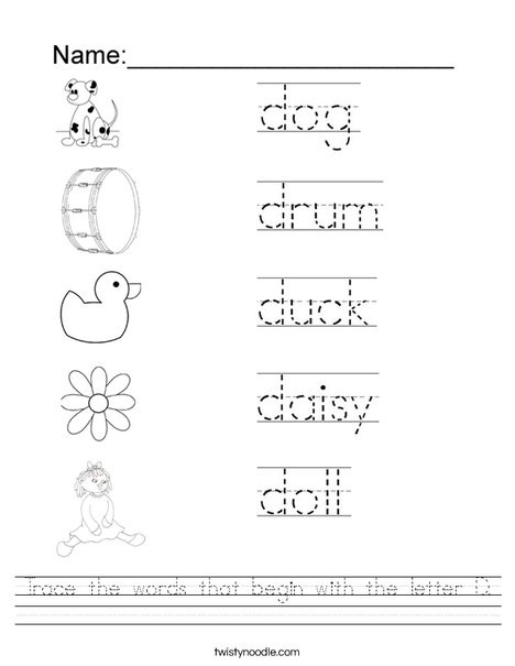 trace the words that begin with the letter d worksheet png 468x609 q85
