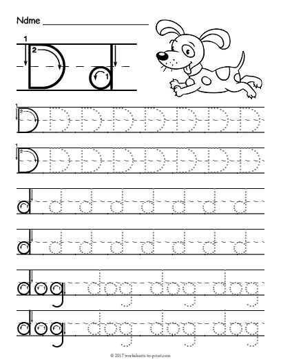 tracing letter d worksheettml