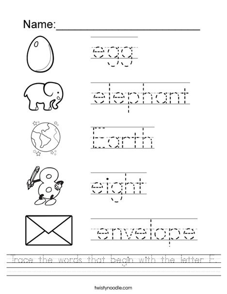 trace the words that begin with the letter e worksheet png 468x609 q85