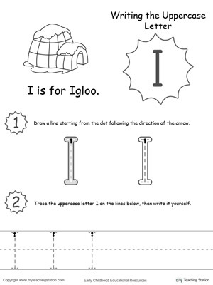 printable letter i worksheets coloring pages writing uppercase free for kindergarten to color