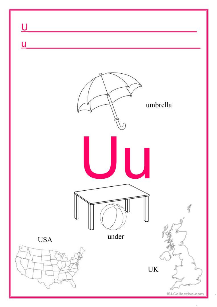 The Letter U Worksheet Alphabet Letter U English Esl Worksheets for Distance