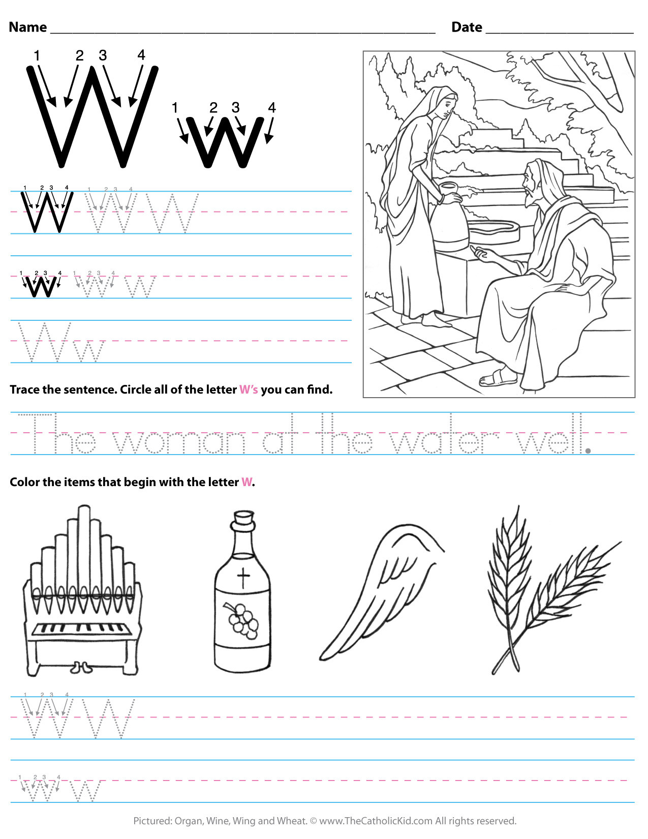 The Letter W Worksheets Catholic Alphabet Letter W Worksheet Preschool Kindergarten