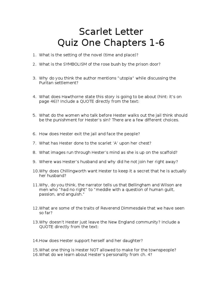 Scarlet Letter Quiz e Chapters 1 6