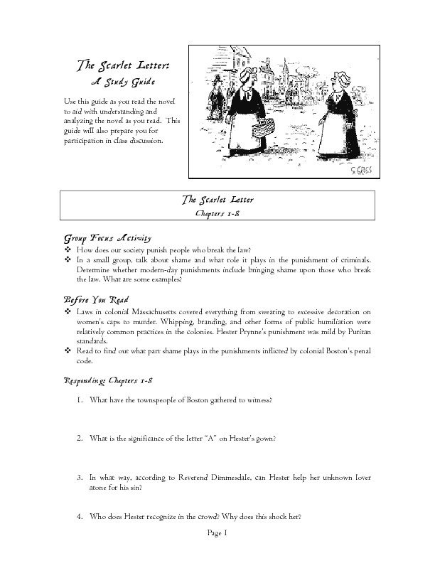 Study Guide The Scarlet Letter Worksheet for 5th 8th