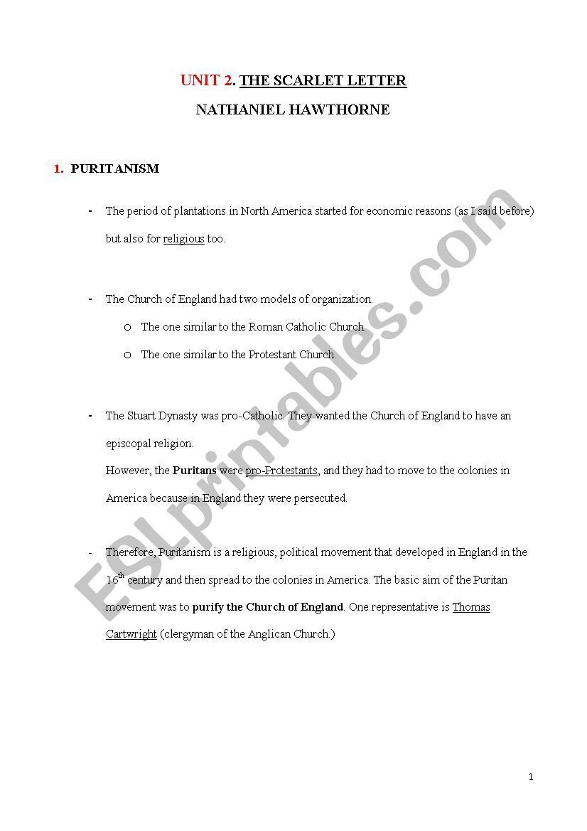 The Scarlet Letter Worksheet the Scarlet Letter Esl Worksheet by Mariaregal490