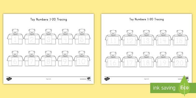Traceable Number Worksheets 1 20 toy Numbers 1 20 Tracing Worksheet