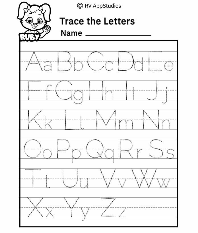124 free printable worksheets for kids a z alphabet letter tracing worksheet a z alphabet letter tracing worksheet