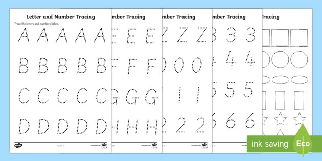 Tracing Letters and Numbers Worksheets Letters Numbers and Shapes Tracing Worksheets Teacher Made