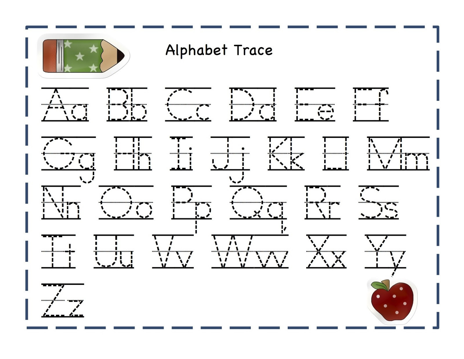 trace letters worksheet alphabet