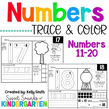 Tracing Numbers 11 20 Worksheets Numbers 11 20 Trace and Count Worksheets