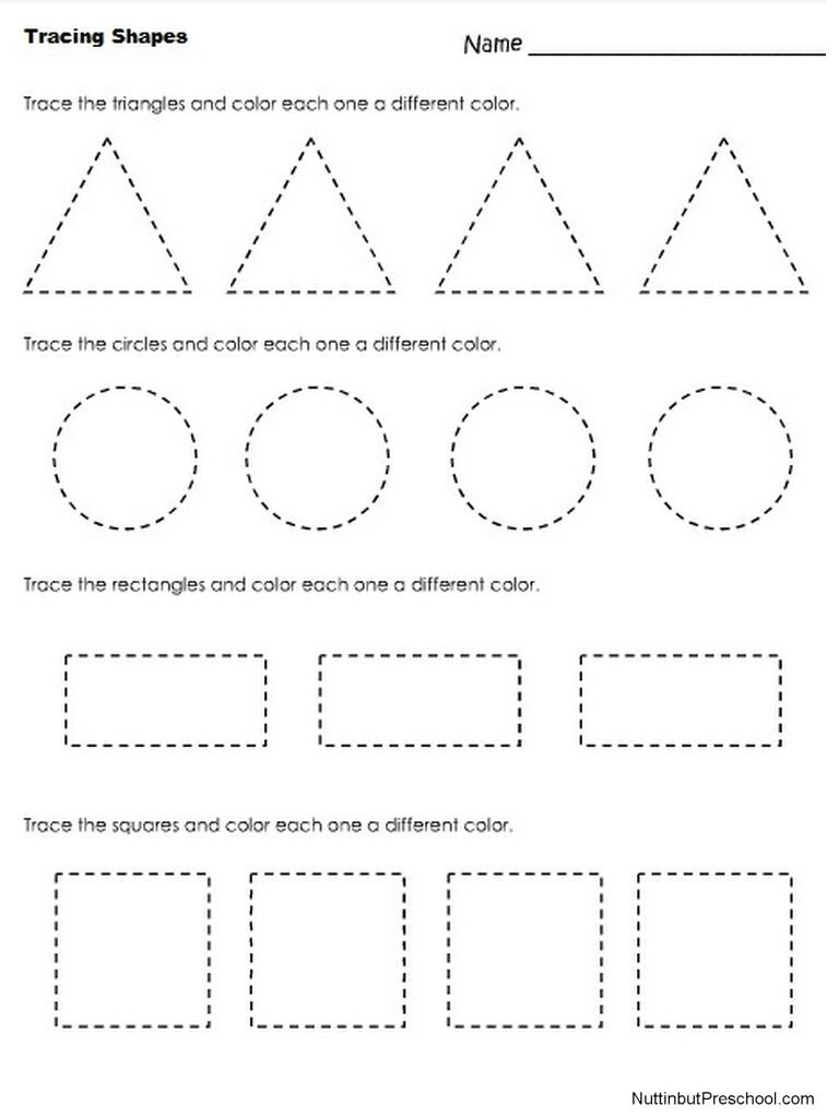 Tracing Shapes Printable Worksheets Free Printable Shape Tracing Worksheets