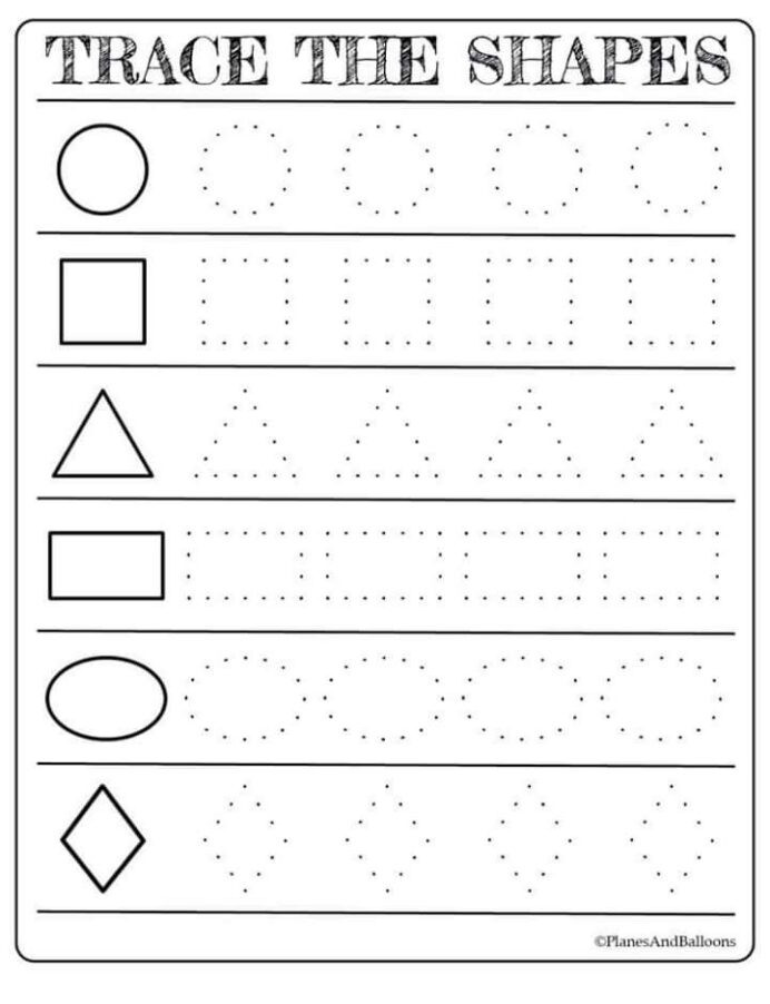 Tracing Shapes Printable Worksheets Free Printable Shapes Worksheets for toddlers First Grade