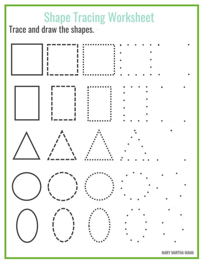 Tracing Shapes Printable Worksheets Free Shape Drawing Printables