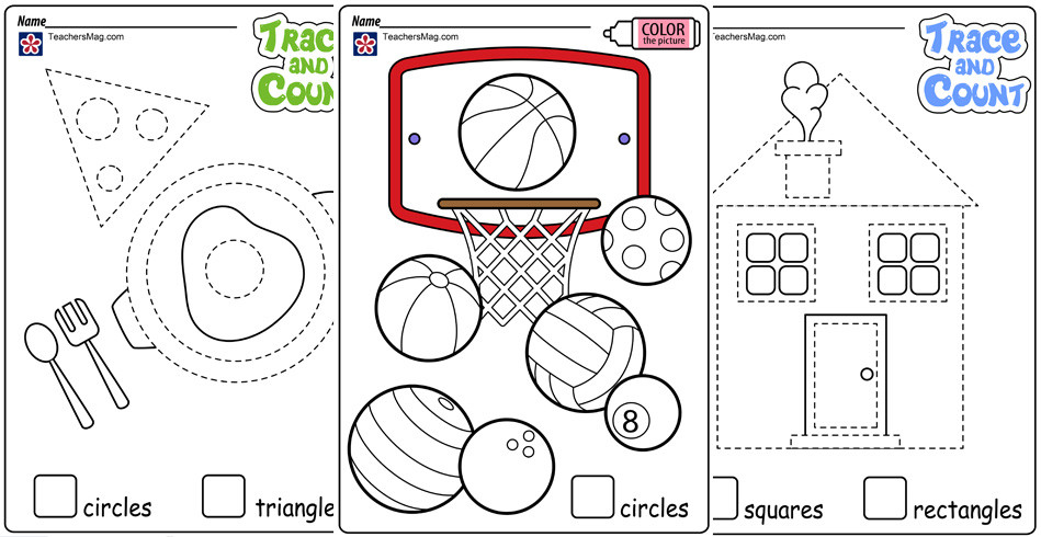 Tracing Shapes Printable Worksheets Shape Tracing and Counting Worksheets Teachersmag