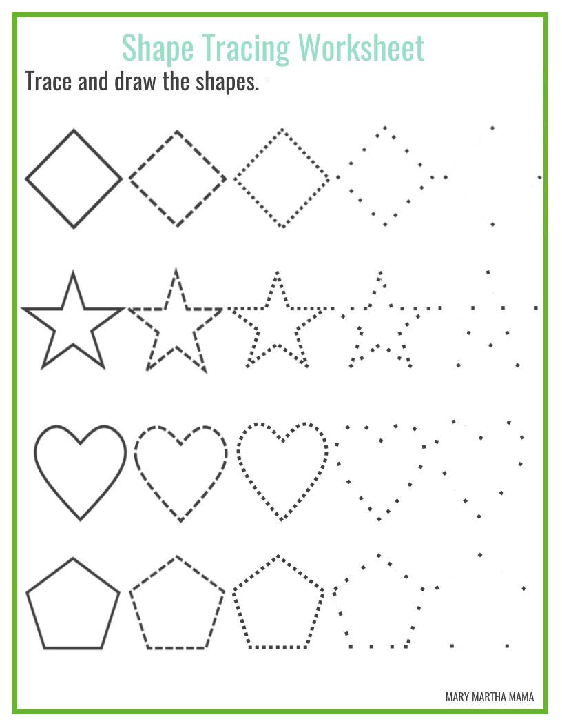 Tracing Shapes Printable Worksheets Shapes Worksheets for Preschool Free Printables Mary Martha