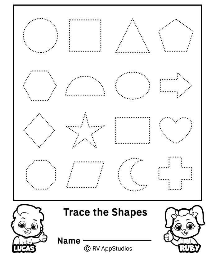 Tracing Shapes Printable Worksheets Trace the Shapes Worksheet Free Printable Worksheets for Kids