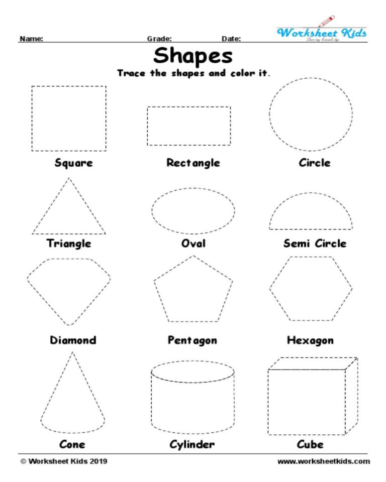 Tracing Shapes Printable Worksheets Tracing Shapes Worksheet In Geometry Worksheets Kids