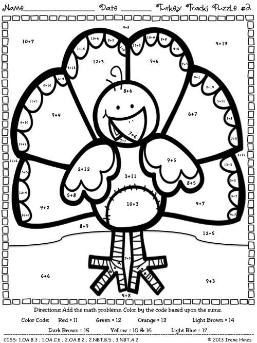 Turkey Multiplication Coloring Worksheet Turkey Tracks & Feather Facts Math Printables Color by the
