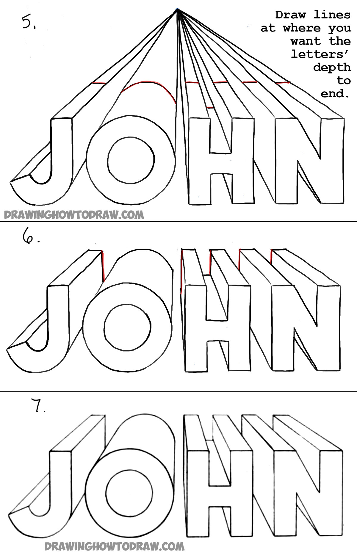 draw 3d letters one point perspective perspective drawing tutorial