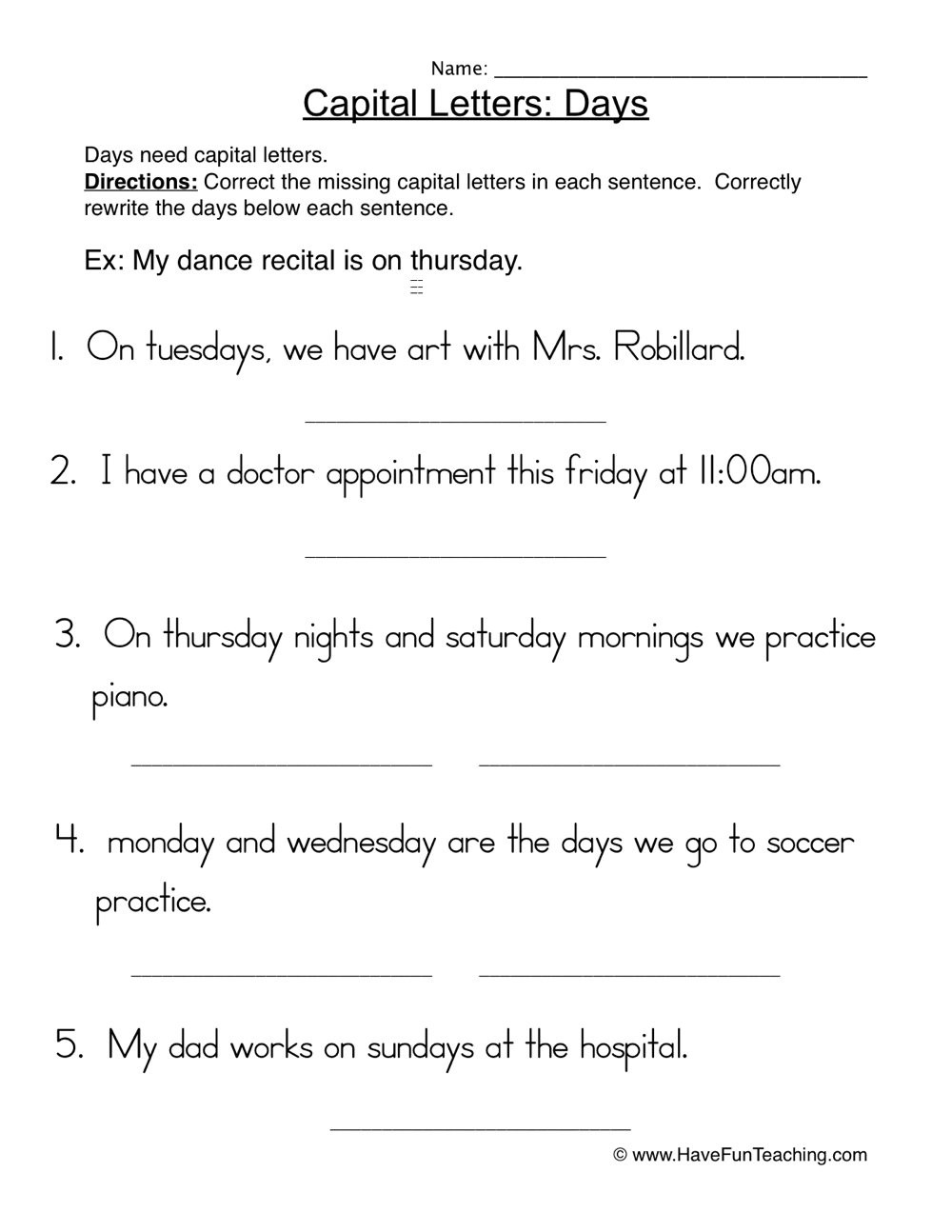 capital letters days worksheet 1