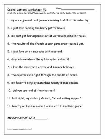 Using Capital Letters Worksheet Capital Letters Worksheet Capitalletter Learnenglish