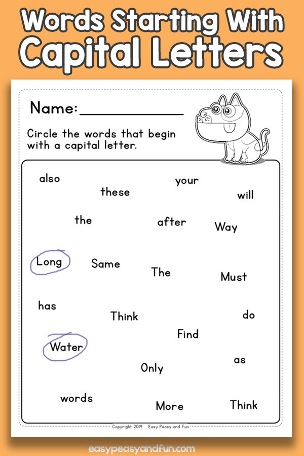 Circle the words starting with capital letters worksheets