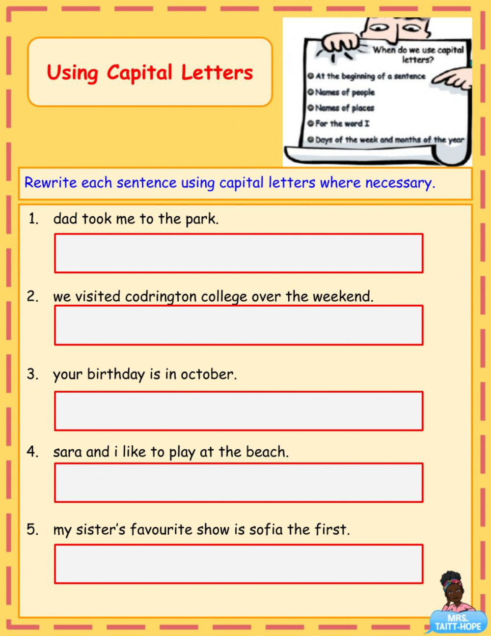 Using Capital Letters Worksheet Using Capital Letters Worksheet