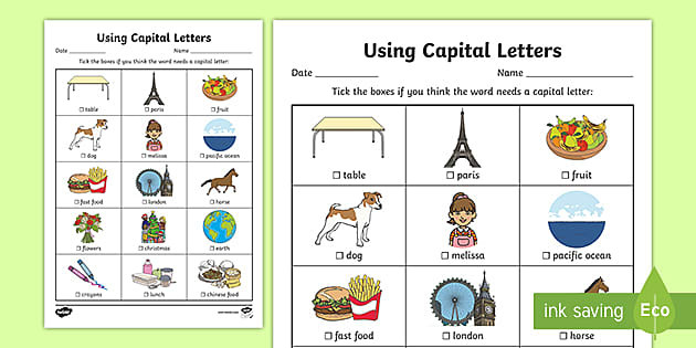 t l 4009 using capital letters worksheet