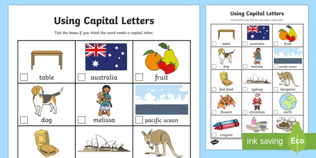 Using Capital Letters Worksheet Using Capital Letters Worksheet Worksheet Teacher Made