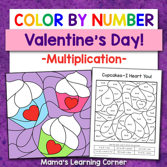 Color By Number Valentines Day Multiplication 8x8
