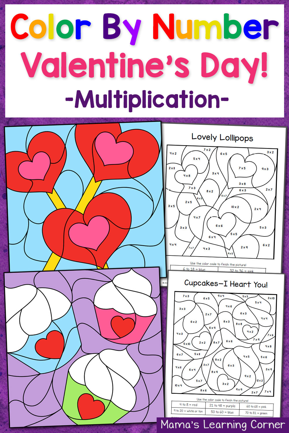 Valentines Day Color By Number Worksheets 1