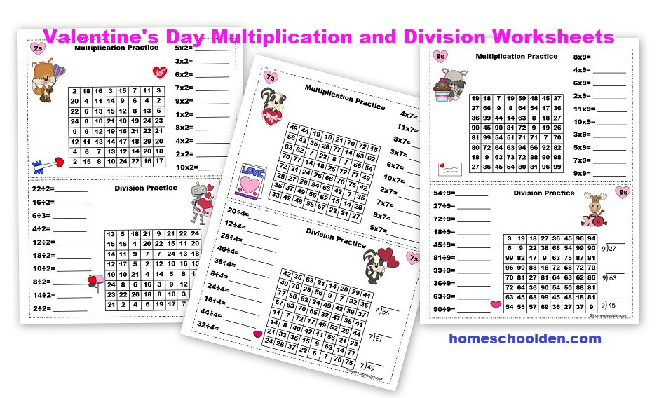 Valentines Day Multiplication and Division Worksheets 2s thru 9s1