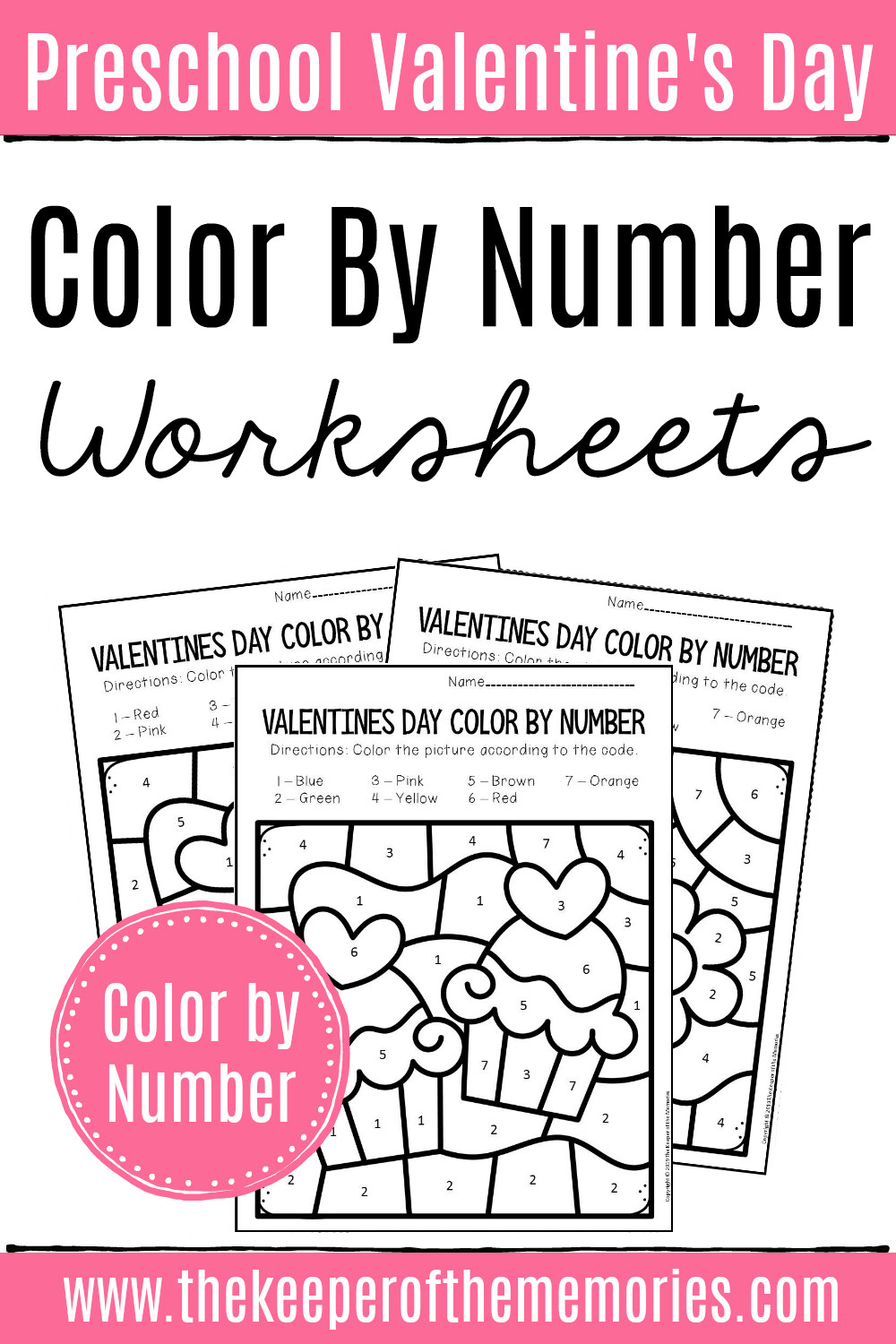 Valentines Day Color by Number Preschool Worksheets