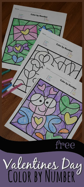Valentines Color by Number Worksheets Free Valentines Day Color by Number
