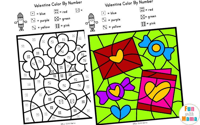 Valentine Color By Code d