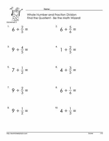Whole Numbers and Fractions Worksheets Divide Fractions by whole Number 4 Worksheets