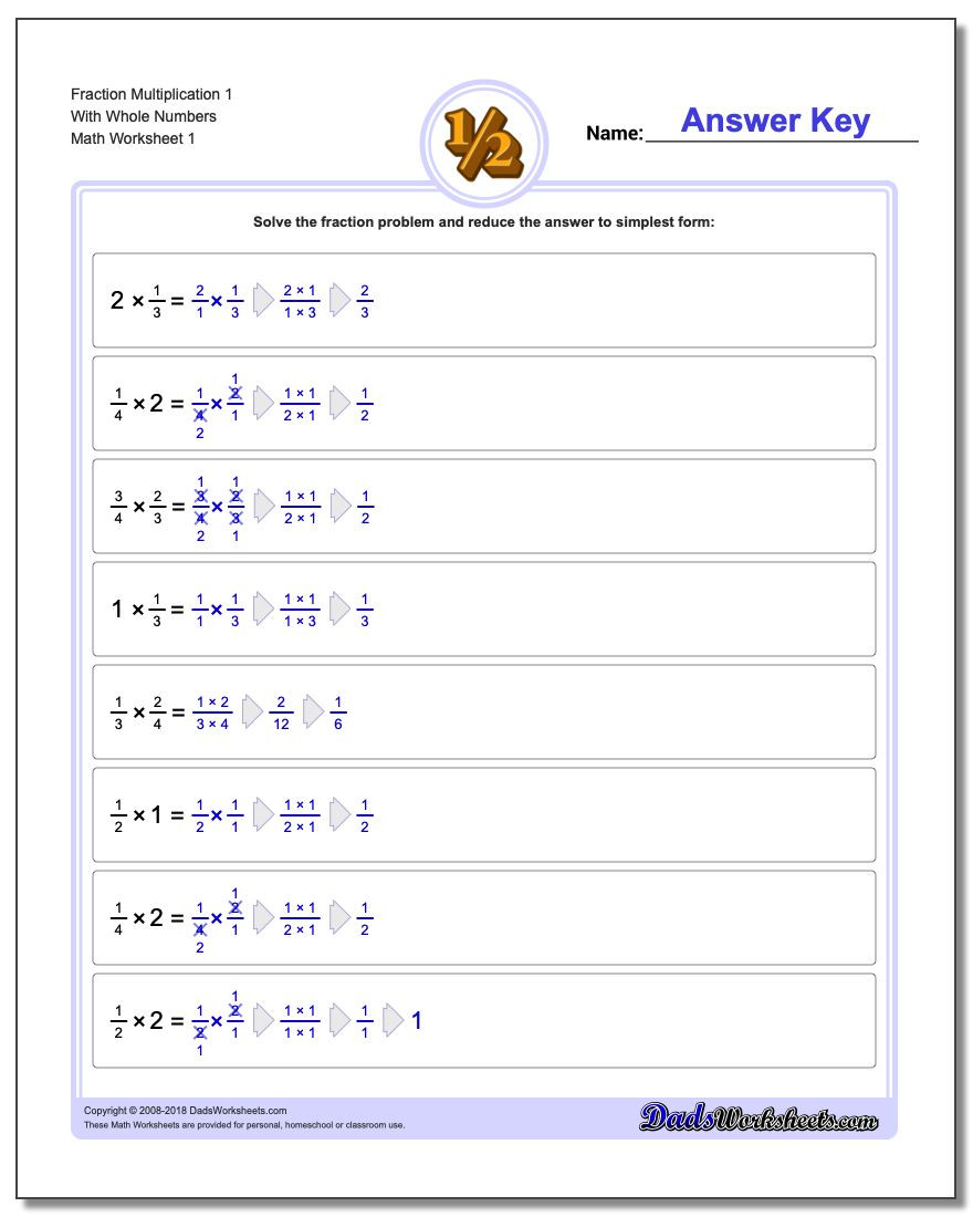 Whole Numbers and Fractions Worksheets Fraction Multiplication