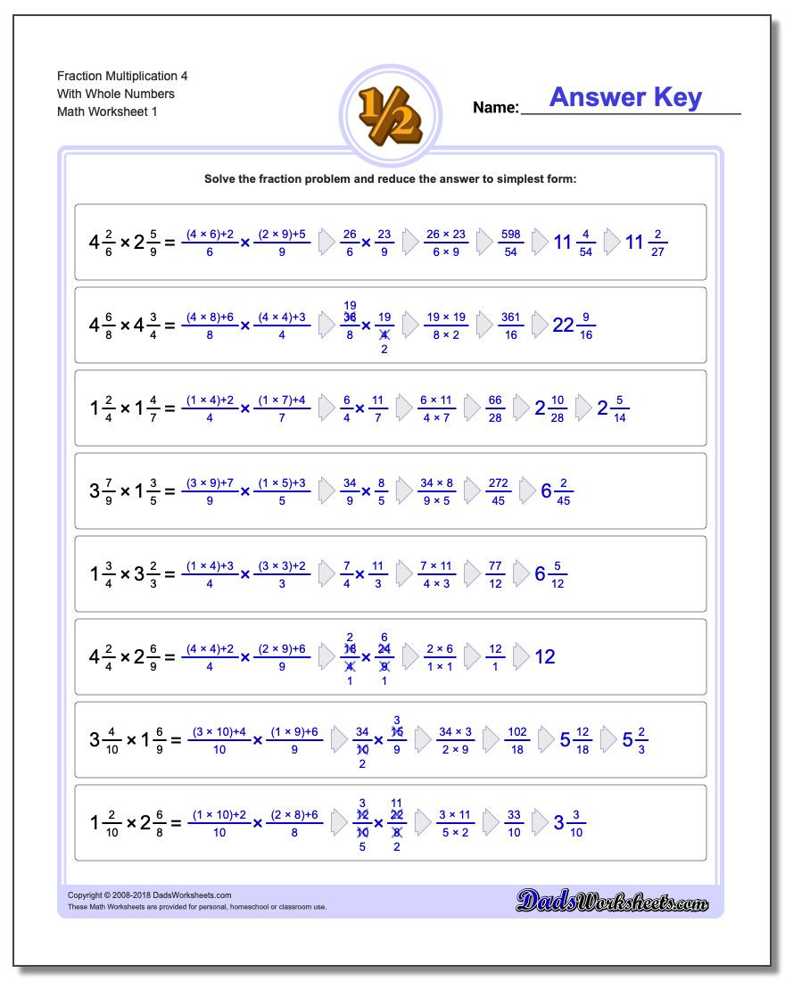 Whole Numbers and Fractions Worksheets Fraction Multiplication with wholes