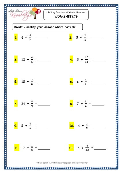 Whole Numbers and Fractions Worksheets Grade 4 Maths Resources 2 7 Dividing Fractions and whole