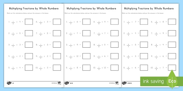 Whole Numbers and Fractions Worksheets Multiplying Fractions by whole Numbers Activity