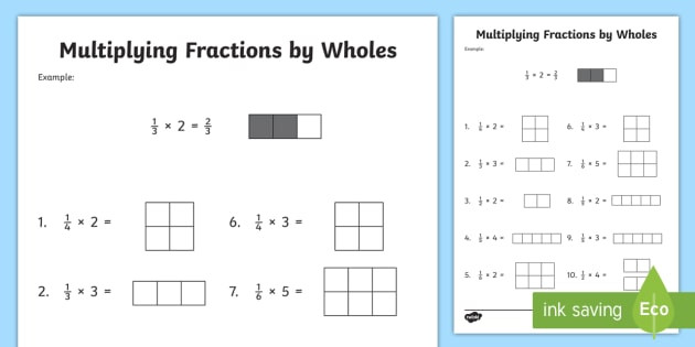 Whole Numbers and Fractions Worksheets Multiplying Fractions by whole Numbers with Visual Models