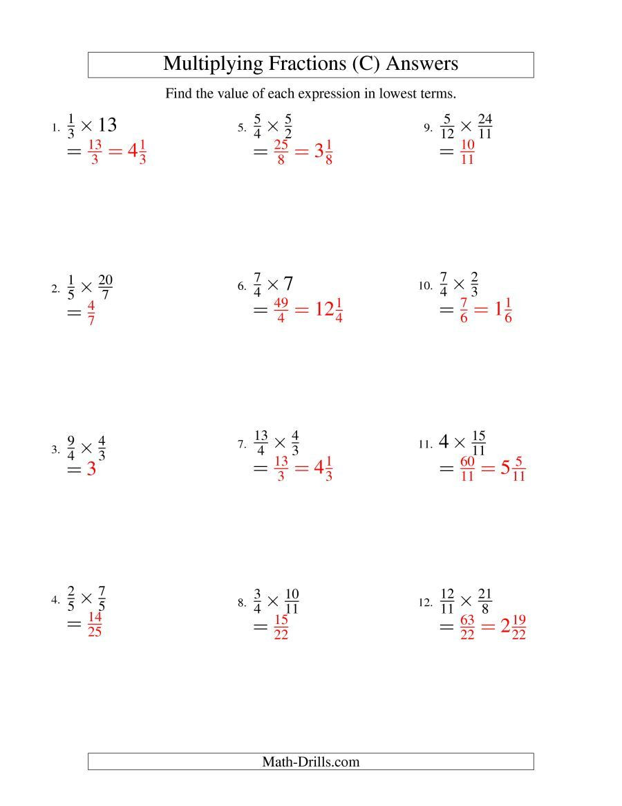Whole Numbers and Fractions Worksheets the Multiplying and Simplifying Fractions with some whole