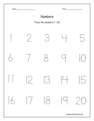 tracing numbers 1 to 20