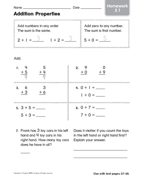 Zero Property Of Multiplication Worksheets Addition Properties Homework 2 1 Worksheet for 1st 2nd