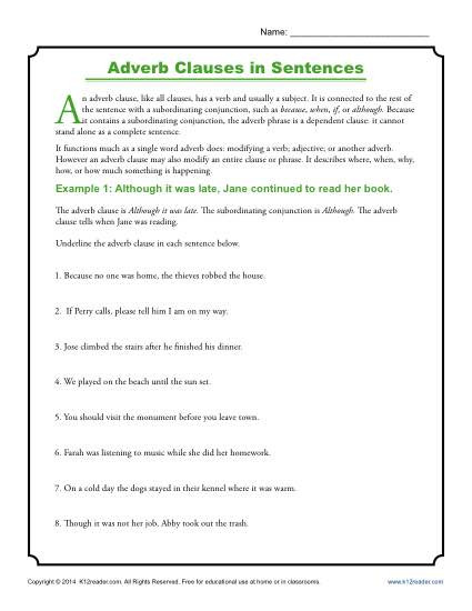 12th Grade Economics Worksheets Adverb Clauses In Sentences Clause Worksheets with Answers
