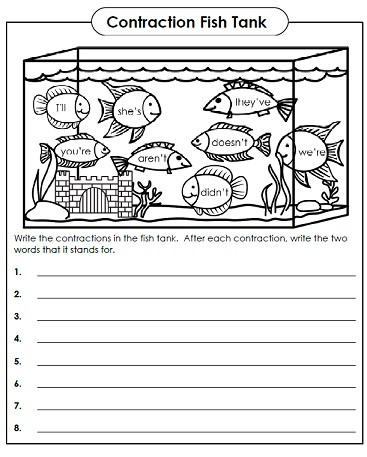 worksheet with contractions