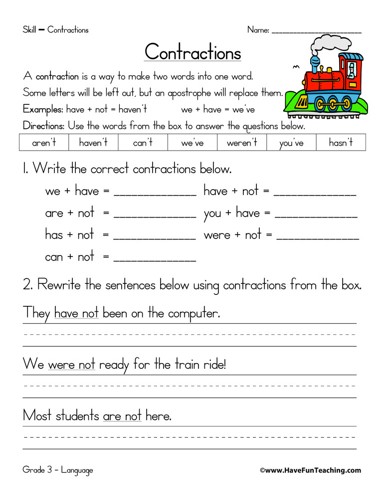 1st Grade Contractions Worksheet Contractions Practice Worksheet